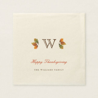 Autumn Leaves Monogram Thanksgiving Paper Napkin