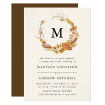 Autumn Leaves | Monogram Wedding Invitation
