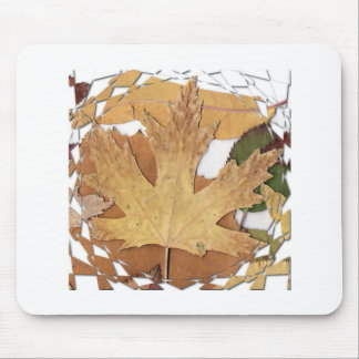 Autumn Leaves Mosaic Frame Mouse Pad