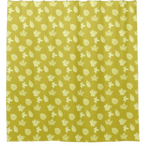Autumn Leaves Mustard And Light Yellow Shower Curtain