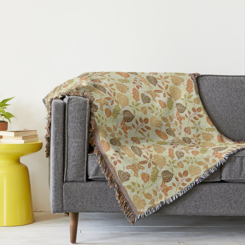 Autumn Leaves Old Tile Earth Tone Fall Decor Throw Blanket