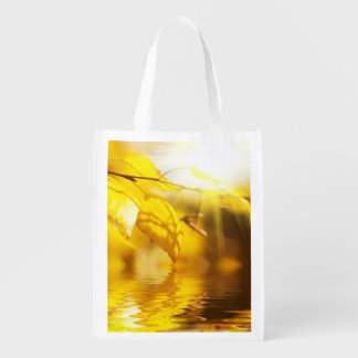 Autumn leaves on a sunny day grocery bags
