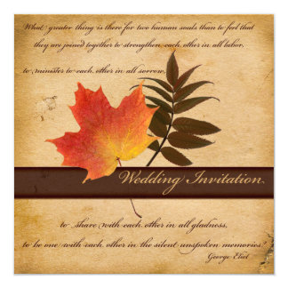 Autumn Leaves on Aged Paper II Square Invitation