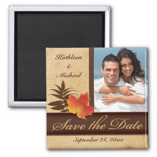 Autumn Leaves on Aged Paper Photo Save the Date Fridge Magnet