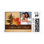 Autumn Leaves on Aged Paper Photo Save the Date Postage