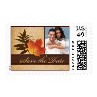 Autumn Leaves on Aged Paper Photo Save the Date Stamp
