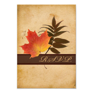 Autumn Leaves on Aged Paper Reply Card II - Small