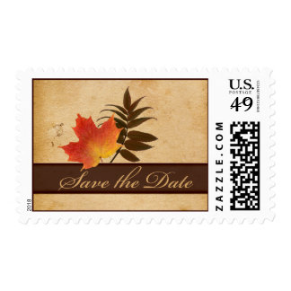 Autumn Leaves on Aged Paper Save the Date Postage Stamps