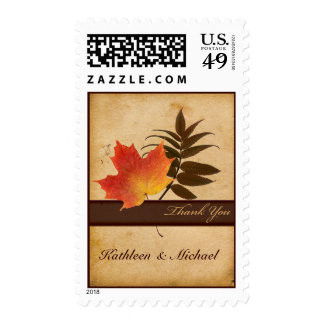 Autumn Leaves on Aged Paper Thank You Postage