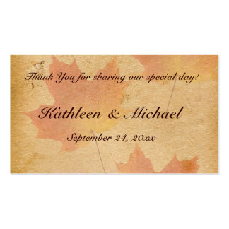 Autumn Leaves on Aged Paper Wedding Favor Tag Business Card Templates