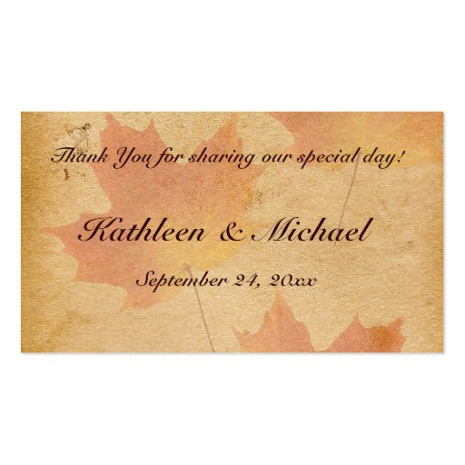 Autumn Leaves on Aged Paper Wedding Favor Tag Business Card