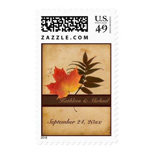 Autumn Leaves on Aged Paper Wedding Postage