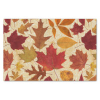 Autumn Leaves on Beige Tissue Paper