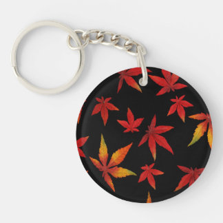 Autumn Leaves On Black Double-Sided Round Acrylic Keychain