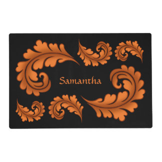 Autumn leaves on black personalized Thansgiving Placemat