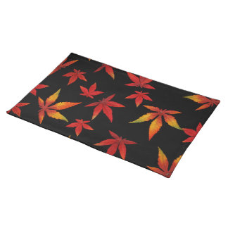 Autumn Leaves On Black Place Mats
