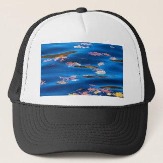 Autumn Leaves on Blue Water Trucker Hat