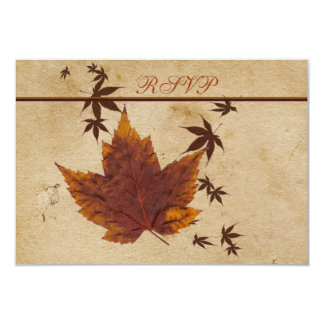 Autumn Leaves on FAUX Aged Paper Reply Card