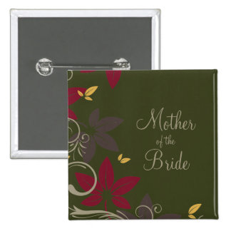 Autumn Leaves on Green Mother of the Bride Pinback Button