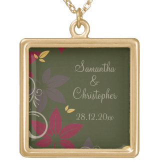 Autumn Leaves on Green Wedding Square Pendant Necklace