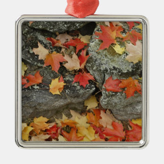 Autumn leaves on stone wall, Minute Man Metal Ornament