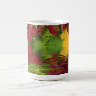 Autumn leaves on waters edge coffee mug