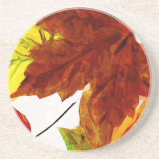 Autumn Leaves on White Abstract Impressionism Coaster