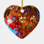 Autumn Leaves Double-Sided Heart Ceramic Christmas Ornament