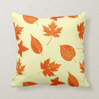 Autumn leaves - pale yellow and orange pillows