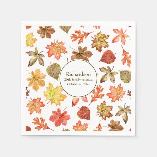 Autumn leaves pattern fall family reunion napkin