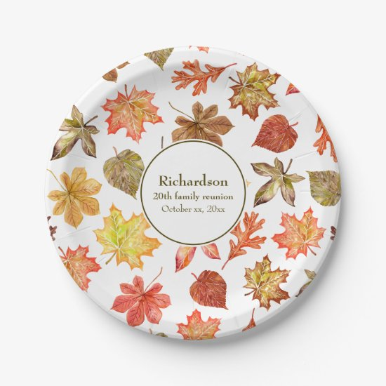Autumn leaves pattern fall family reunion paper plate