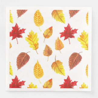 Autumn leaves pattern paper dinner napkin