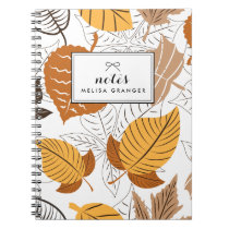 Autumn Leaves Pattern Personalized Notebook