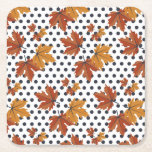 """Autumn Leaves Pattern Square Paper Coaster<br><div class=""""desc"""">This is a beautiful Autumn/fall inspired print that makes the perfect gift.</div>"""