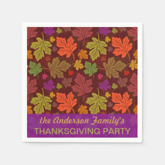 Autumn Leaves Personalized Fall Thanksgiving Party Napkin