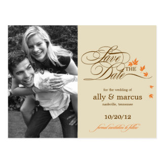 Autumn Leaves Photo Save The Date Postcard