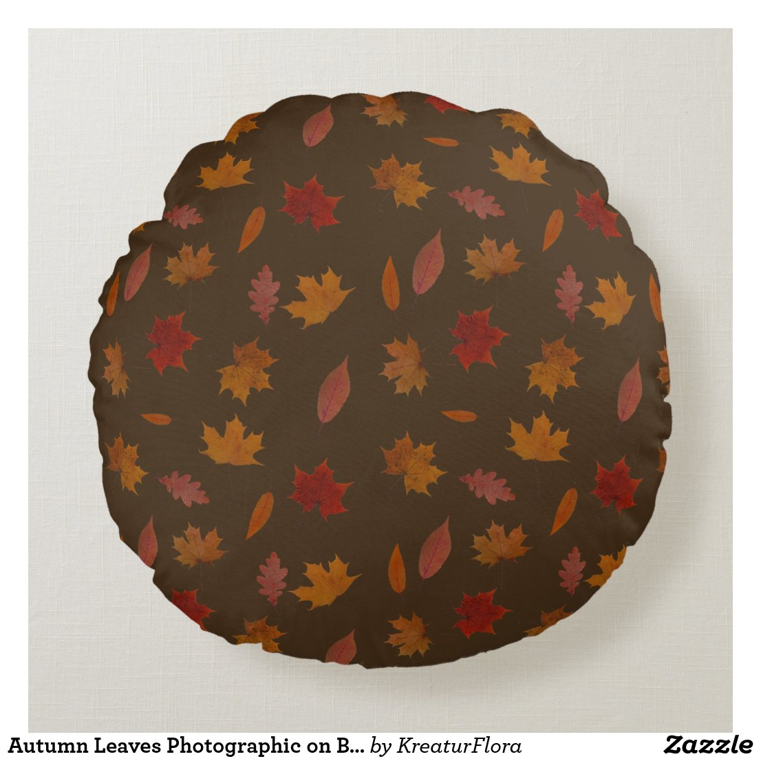 Autumn Leaves Photographic on Brown Custom Color
