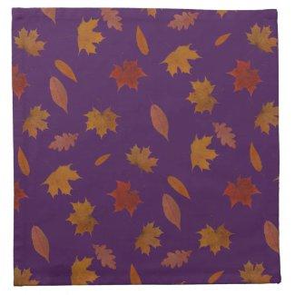 Autumn Leaves Photographic on Purple Custom Color