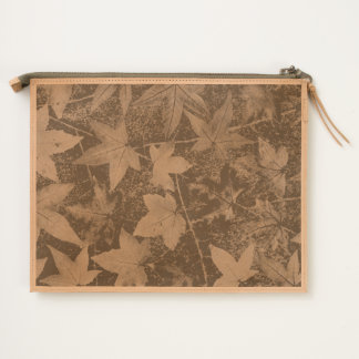 Autumn Leaves Photography Leather Travel Pouch