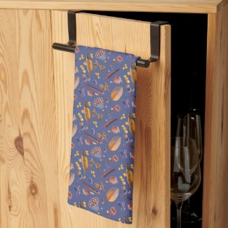 Autumn Leaves, Pods, Seeds Smoky Blue Kitchen Towel