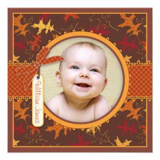 Autumn Leaves Print Birth Announcement Photo Card