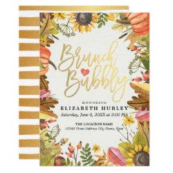 Autumn Leaves Pumpkin Brunch Bubbly Bridal Shower Invitation