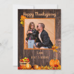 Autumn Leaves Pumpkin Photo Thanksgiving Holiday Card