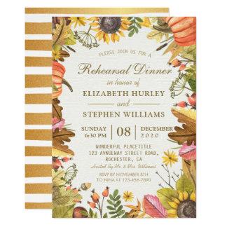 Autumn Leaves Pumpkins Wedding Rehearsal Dinner Invitation