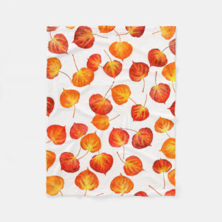 Autumn Leaves Quaking Aspen Pattern Fleece Blanket