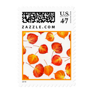 Autumn Leaves Quaking Aspen Pattern Postage