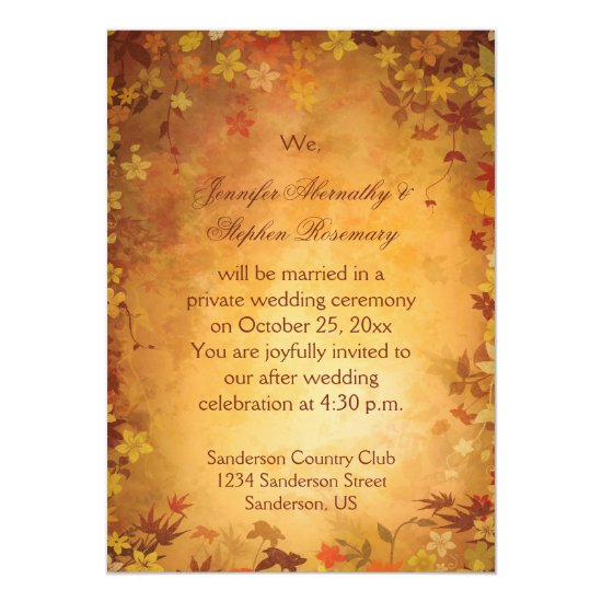 Autumn Leaves Reception Only Wedding Celebration Invitation