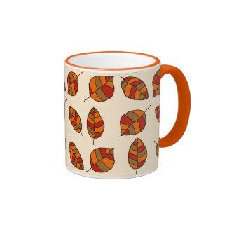 Autumn Leaves Red Leaf Pattern on any Color Ringer Mug