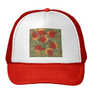 Autumn Leaves Red Maple Abstract on Grass Trucker Hat
