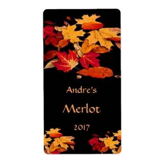Autumn Leaves Red Orange Yellow Brown Wine Label
